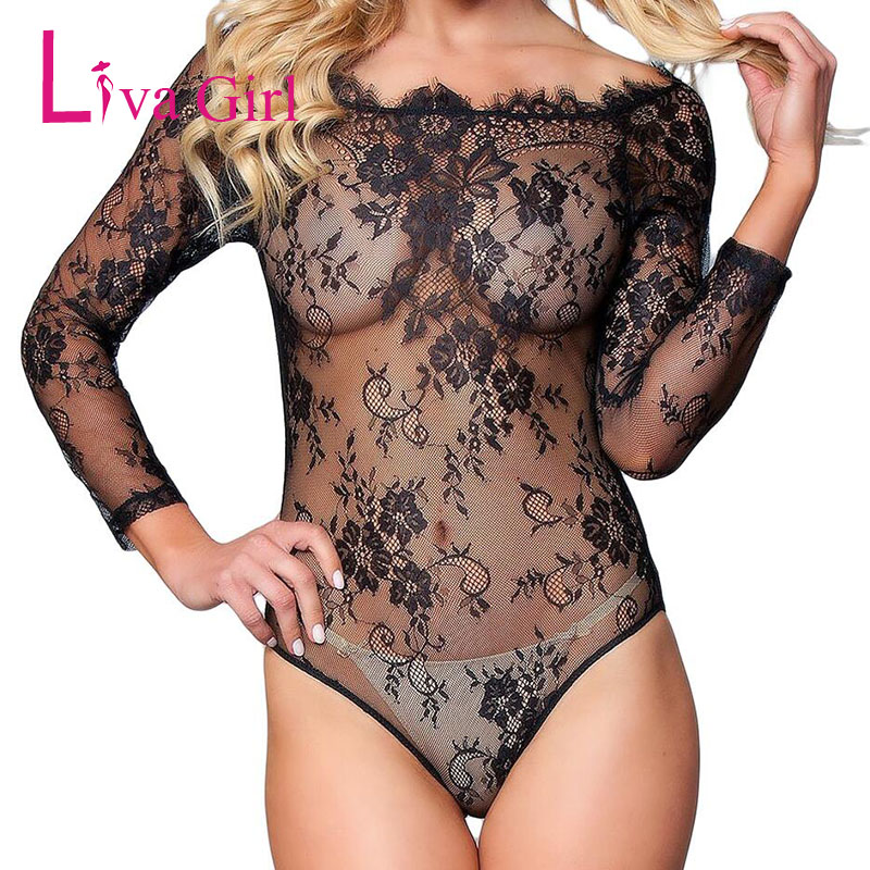 Liva Girl Transparent Sexy Lace Bodycon Bodysuit Women Mesh Long Sleeve See through Embroidery   Jumpsuit   Black Red Fashion Romper