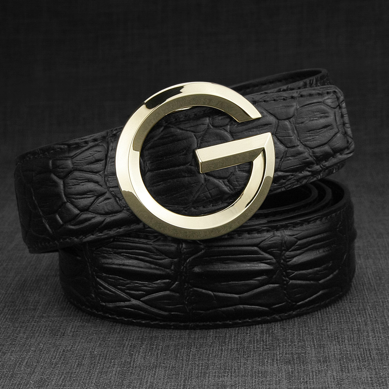 High Quality G letter Waist Strap genuine leather designer mens belts round buckle Automatic buckle Cowskin fashion Casual belt