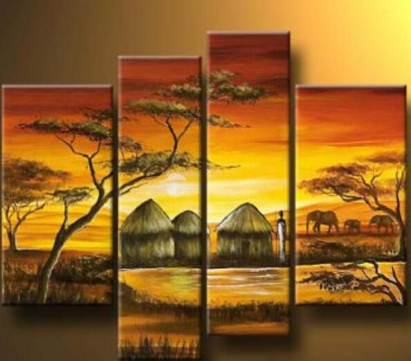 4pcs Hand Painted Oil Painting African Village V Modern Oil Painting ...