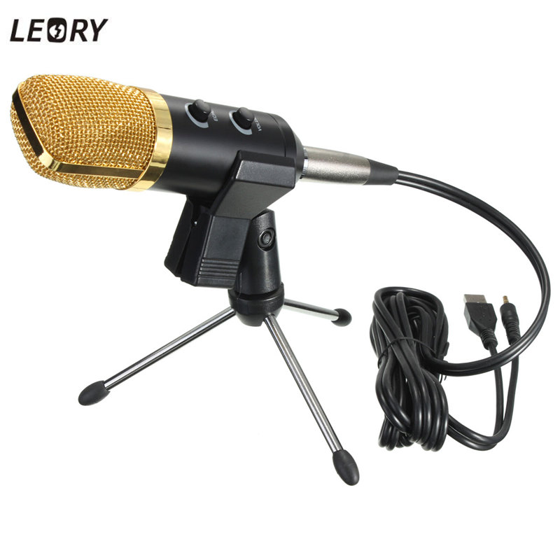 LEORY USB Microphone Condenser Kit Sound Studio Recording Wired Microphone Mic With Stand Mount For Braodcasting KTV Karaoke  3 5mm jack audio condenser microphone mic studio sound recording wired microfone with stand for radio braodcasting singing