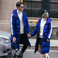 Female Male Warm Winter Parkas Jacket 2017 New Couple Fashion Hooded Long Parkas Down Oversize Coat