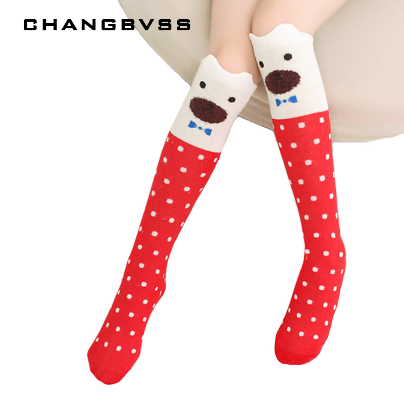2 pairs /lot Christmas Gift Cartoon Design Girls Knee Socks Kids Long Tube Cotton Boot Socks Autumn Winter Baby Girl Leg Warmer