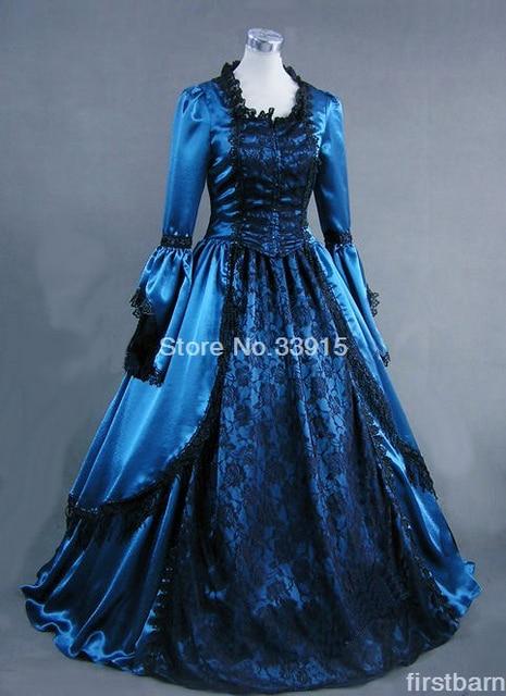 5bd8d7f93cf Custom Elizabethan Era Blue Gothic Victorian Lolita Ball Gown Dress Long  Lace Dress Civil War Dress Costume For Women