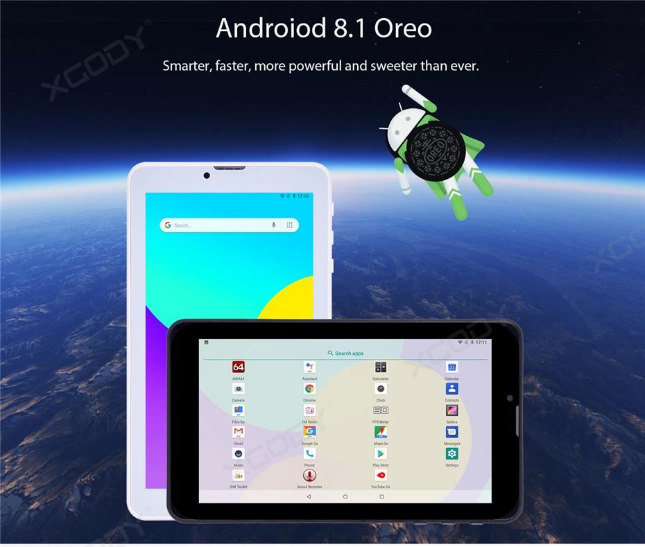 XGODY V7S 7 Inch Tablet PC Android 8 1 1024x600 Quad Core 1GB RAM 16GB ROM  3G Dual Sim Phone Call Tablets GPS Bluetooth Phablet