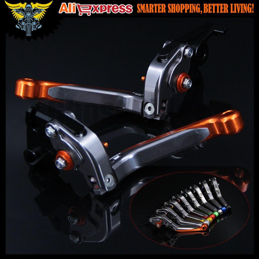 Orange+Titanium 8 Colors CNC Adjustable Folding Extendable Motorcycle Brake Clutch Levers For Kawasaki VULCAN/S 650cc 2015 2016 adjustable folding extendable brake clutch levers for kawasaki versys 1000 w800 zzr1200 zrx1100 1200 8 colors