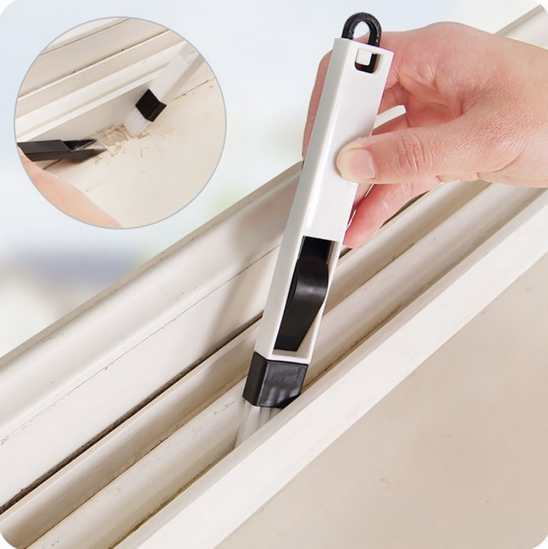 Home Window Recess Groove Cleaning Brush Crevice With Dustpan Tool Wash Screens Keyboard Accessories 2 In 1