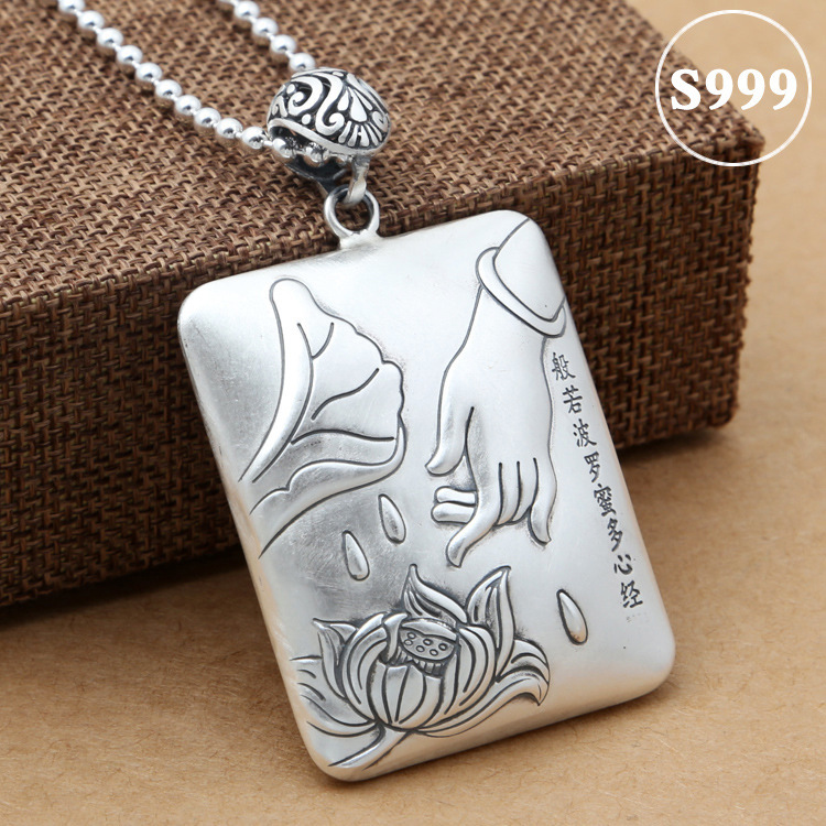 2019 Cluci Cage Pendants Asg S999 Foot Pendant, Male And Female Heart Lotus Sweater Chain Pendant Big Hanging Tag Retro Taiyin 2019 Cluci Cage Pendants Asg S999 Foot Pendant, Male And Female Heart Lotus Sweater Chain Pendant Big Hanging Tag Retro Taiyin