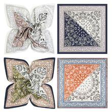 60x60cm Women Faux Silk Square Neck Scarf Ethnic Paisley Print Neckerchief Contrast Color Patchwork Decorative Bandanas Headwrap square scarf with paisley print