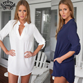 Tunic Shirt Women Blouses Casual Plus Size Long Sleeve Tunic V Neck Loose Tops Shirts Fashion Brand vestidos de festa 2016