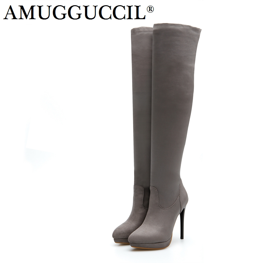 2018 New Plus Big Size 32-45 Black Gray Wine-red Over The Knee Sexy Thigh High Heel Autumn Winter Lady Female Women Boots X1677 2016 new autumn winter over the knee casual women boots plus size boots for women fashion sweet lady shoes high thigh knee