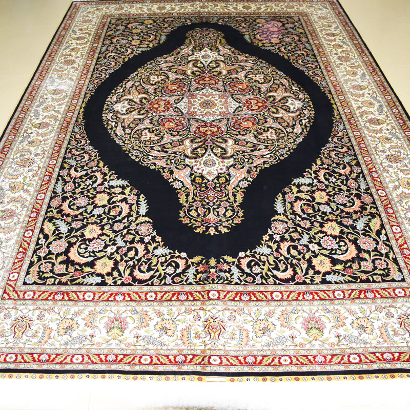 mingxin 6x9 feet black oval flower carpet hand knotted silk carpets and rugs hot sale for home decation