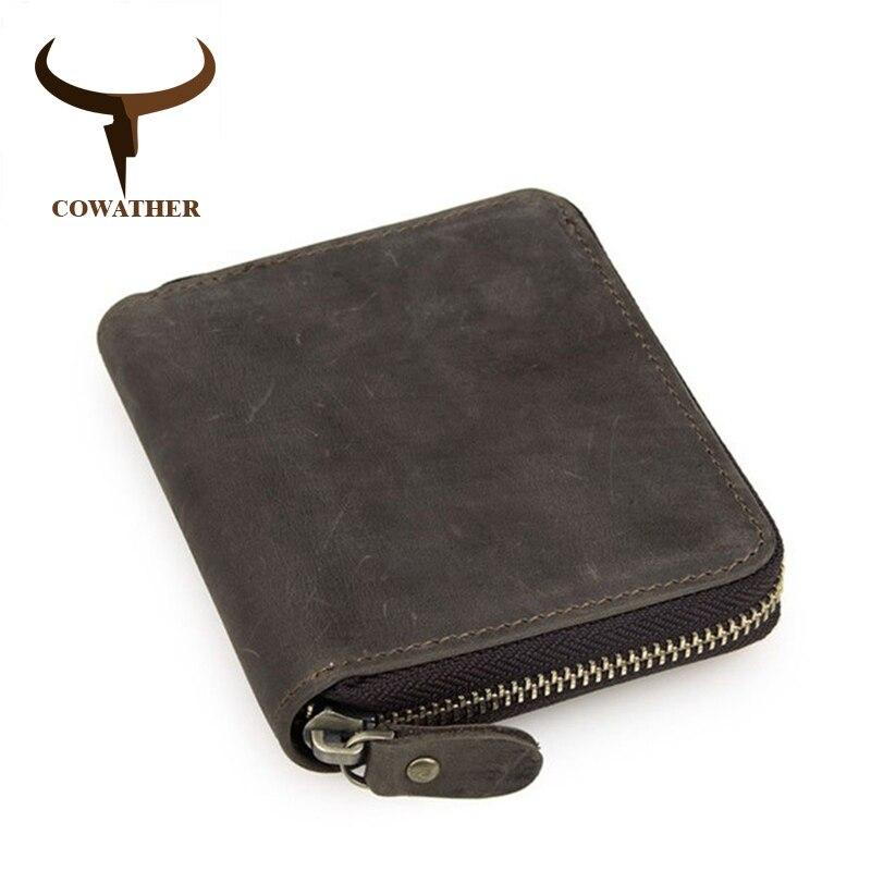 COWATHER top qualité vache crazy horse cuir véritable, homme portefeuilles pour hommes homme bourse de luxe carteira masculina marque originale