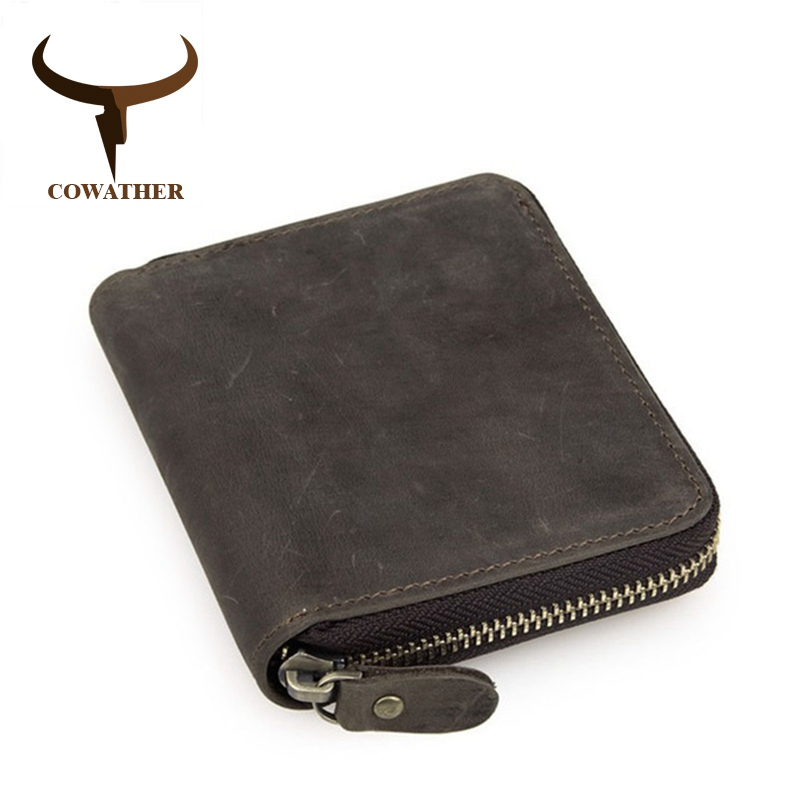 COWATHER top quality cow crazy horse genuine leather men wallets for men male purse luxury carteira masculina original brand 2018 top quality new men wallets vintage cow crazy horse luxury leather men manual male purse carteira masculina