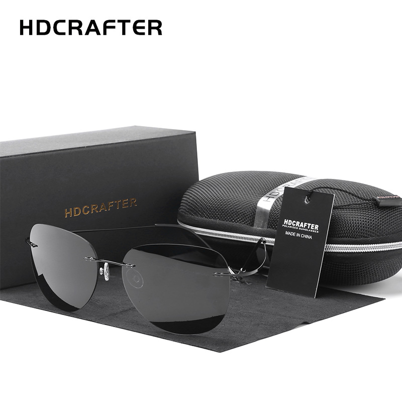 HDCRAFTER 9g Ultralight Rimless Sunglasses Titanium Men Brand Designer Frameless Polarized Sun Glasses Women Screwless Eyewear