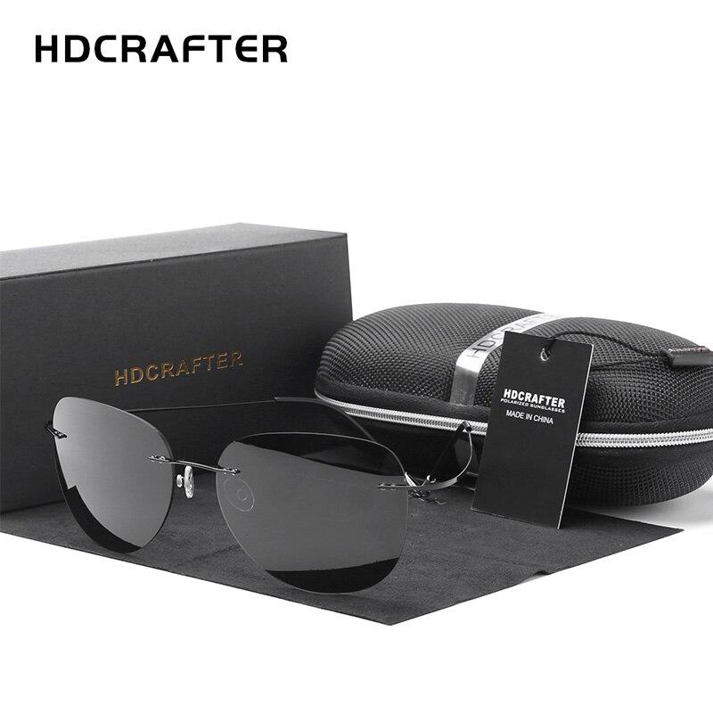 HDCRAFTER 9g Ultralight Rimless Sunglasses Titanium Men Brand Designer Frameless Polarized Sun Glasses Women Screwless Eyewear-in Men's Sunglasses from Apparel Accessories