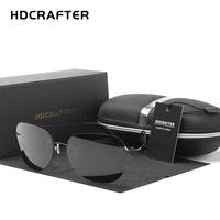 HDCRAFTER 9g Ultralight Rimless Sunglasses Titanium Men Brand Designer Frameless Polarized Sun Glasses Women Screwless Eyewear