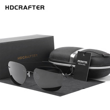 HDCRAFTER 9g Ultralight Rimless Sunglasses Titanium Men Bran