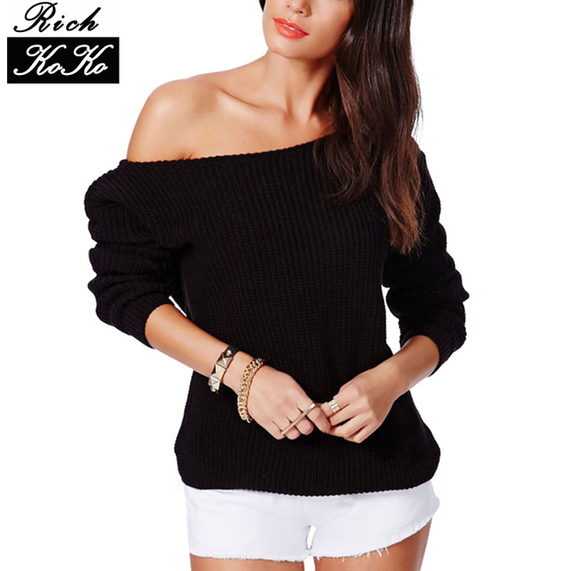 Richkoko Sweater Slash Neck Pullover Knitwears Sexy Brief Loose Casual Sweaters Long Sleeve One Shoulder Knitted Sweater