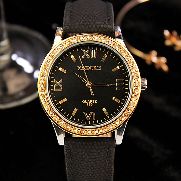 Hot Sale Yazole Brand Vintage Crystal Gold Luxury Genuine Leather Quartz Wedding Wristwatches Watch for Women Ladies 359 OP001 hot sale luxury crystal rose gold high quality leather quartz gift watch wristwatch for women ladies girls 1 year warrenty