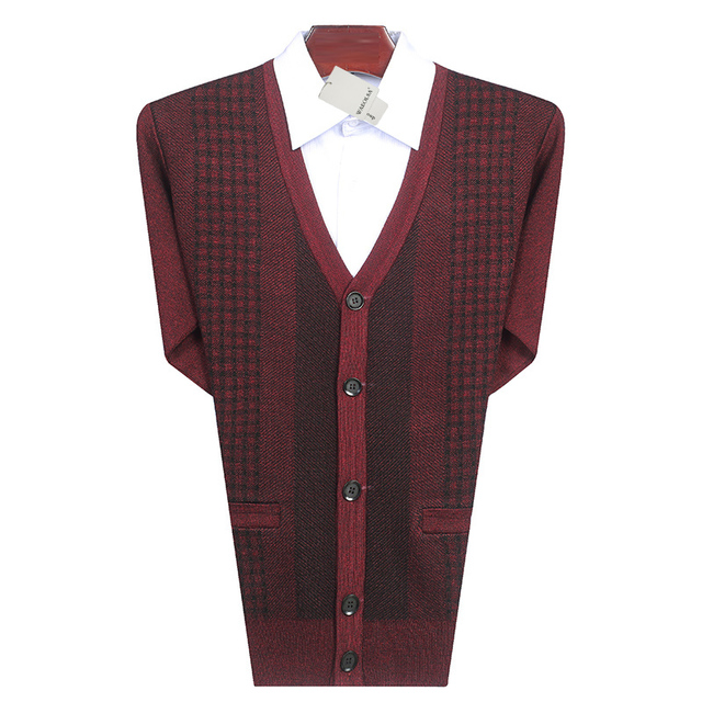 Men Casual Cardigan Sweaters Purplish Red Gray Knitted Tops Man V-neck  Knitwear Male Cashmere Wool Blend Cardigan Sweaters Man 86678e5ee
