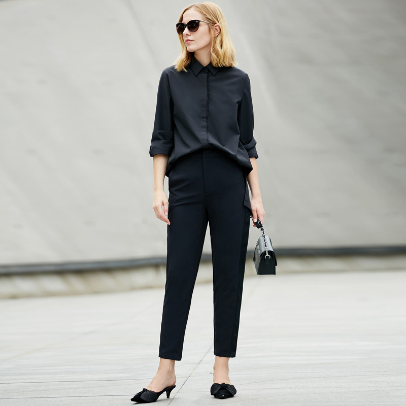 Amii Minimalist Women 2019 Spring Blouse Solid Turn down Collar Long Female Blouses Shirts