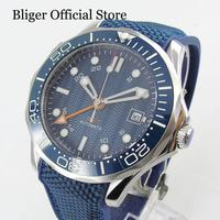 BLIGER Super Luminous Sterile Dial 41mm Automatic Men's Watch With GMT Hand Date Display Rubber Strap|Mechanical Watches|   -
