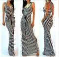 Лето Женщины Оболочка Черный И Белый Полосатый Dress Lady V-образным Вырезом Без Рукавов Ретро Maxi Long Dress With Belt