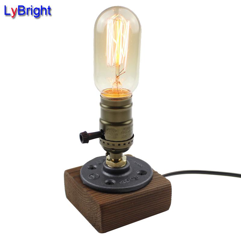 Vintage Loft Holz Holztisch Lampe Licht Edison Birne E27 AC 110 V 220