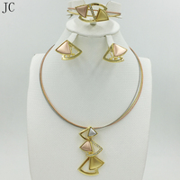 New Arrival Fashion high quality Jewelry Set Italy 750 gold Earrings Necklace 3color Wedding Party African