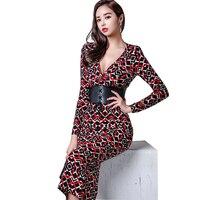 2018 Bodycon V Neck Dress Long Sleeve Women Autumn Printing Hollow Lace Up Dress Fashion Vintage