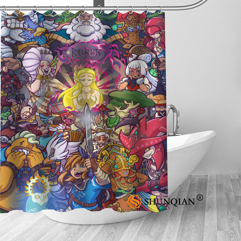 New The Legend Of Zelda Shower Curtain Bathroom Decorations For Home Waterproof Fabric Bath A1813 In Curtains From