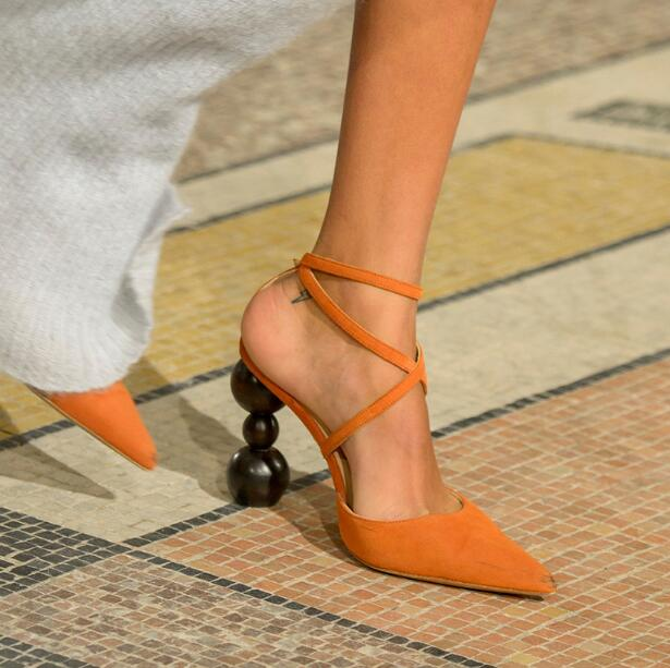 Прямая поставка; брендовые Женские однотонные пикантные вечерние туфли лодочки коричневого/черного/оранжевого цвета с перекрестными реме... - 3