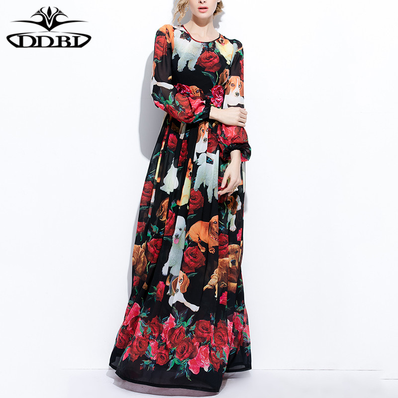 Maxi Robes Piste 2017 Longue 170407 Multi O De Qualité D'été Lanterne Cou Haute Long Floral Robe Femmes Manches PukZwiTOX