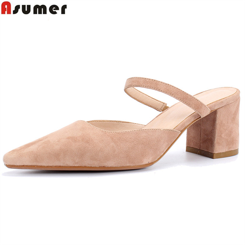 ASUMER 2018 fashion spring summer shoes woman pointed toe pumps women shoes square heel suede leather high heels shoes hee grand sweet patent leather women oxfords shoes for spring pointed toe platform low heels pumps brogue shoes woman xwd6447