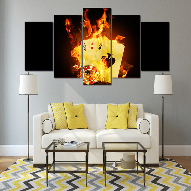 HD Printed poker Flame Painting on canvas room decoration print ...