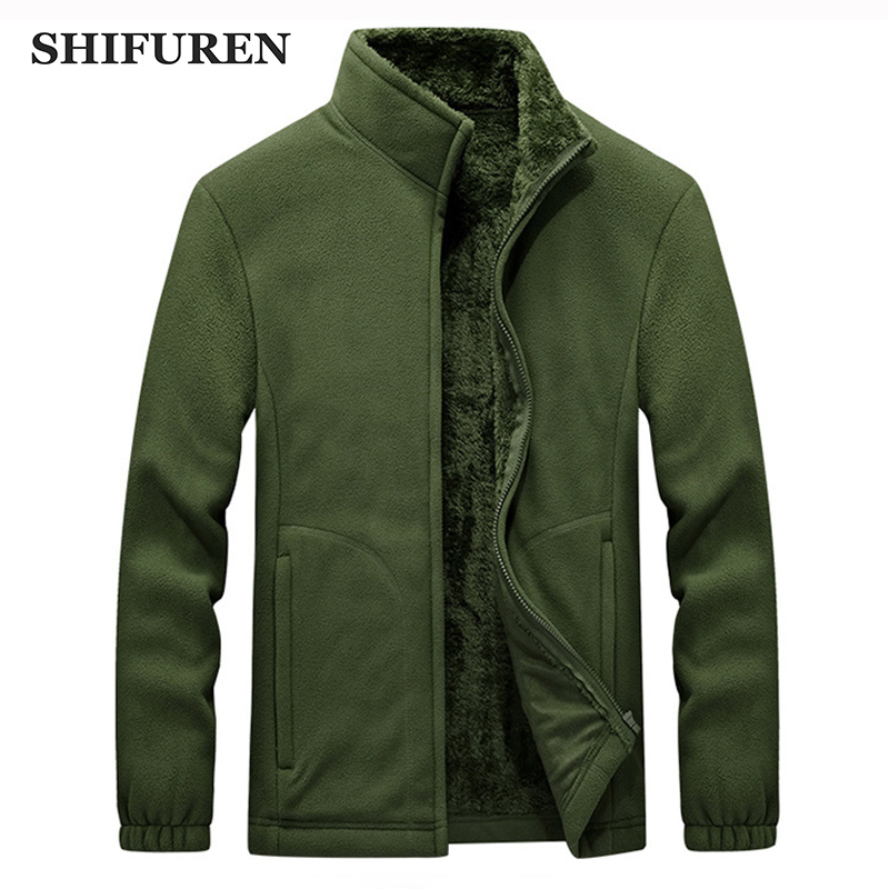 SHIFUREN Winter Men Fleece Jacket Coat Male Long Sleeve Thermal Warm Polar Fleece Outerwear Clothing Plus Size M 4XL