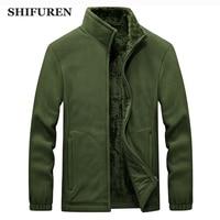 SHIFUREN Winter Men Fleece Jacket Coat Male Long Sleeve Thermal Warm Polar Fleece Outerwear Clothing Plus Size M 4XL