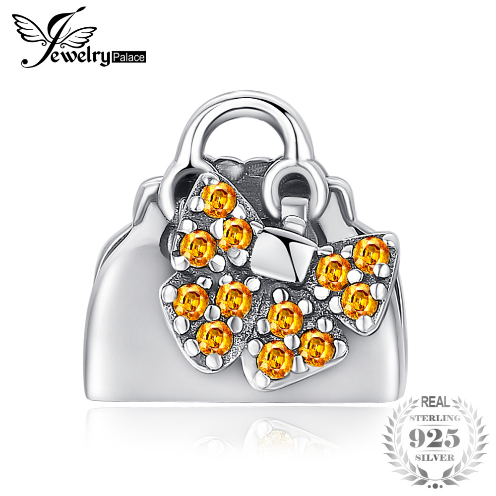 3bd71a964f31 JewelryPalace Accessories Love Handbag 0.1ct Yellow Cubic Zirconia 925  Sterling Silver Charm Beads For Women 2018 New Hot Sale