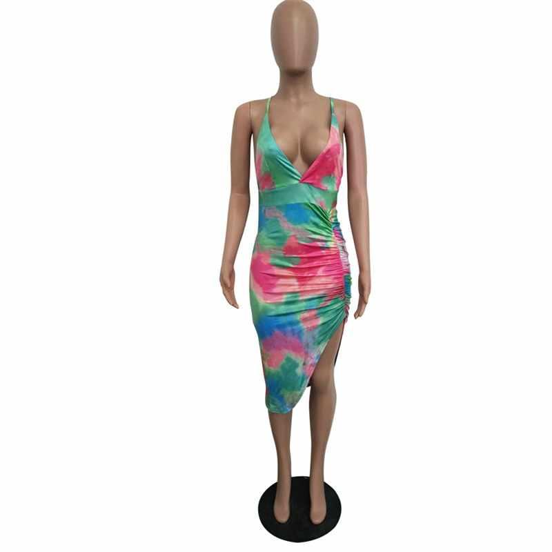 RAISEVERN Лето 2019 г. пикантные для женщин карандаш вечернее платье повязки Backness рукавов Bodycon Вечеринка Высокая разделение платье