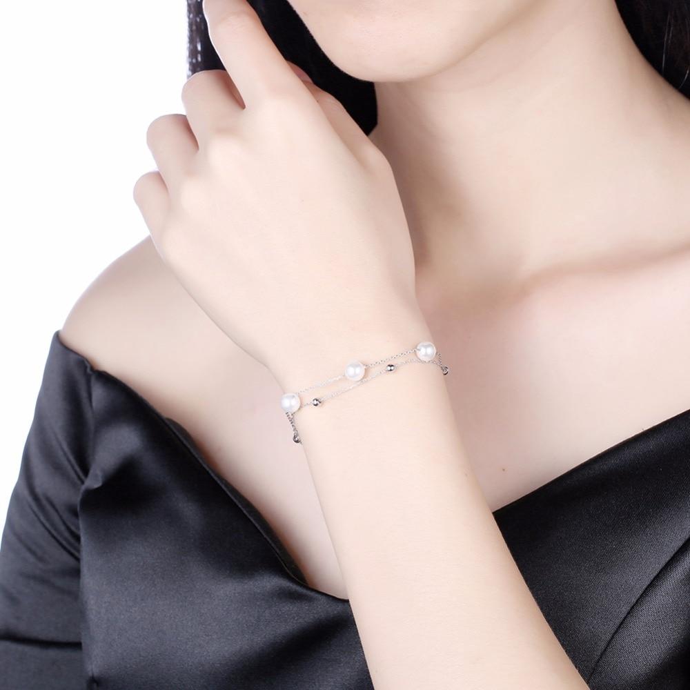 SOBUY 100% 925 Sterling Silver & Pearl Bracelet, Double layer chain - Joyas - foto 4