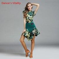 Dancer's Vitality 2017 New Latin Dance Dress Short Sleeves Cupcake Dress For Salsa Samba Tango Latin Costume Competition Dress