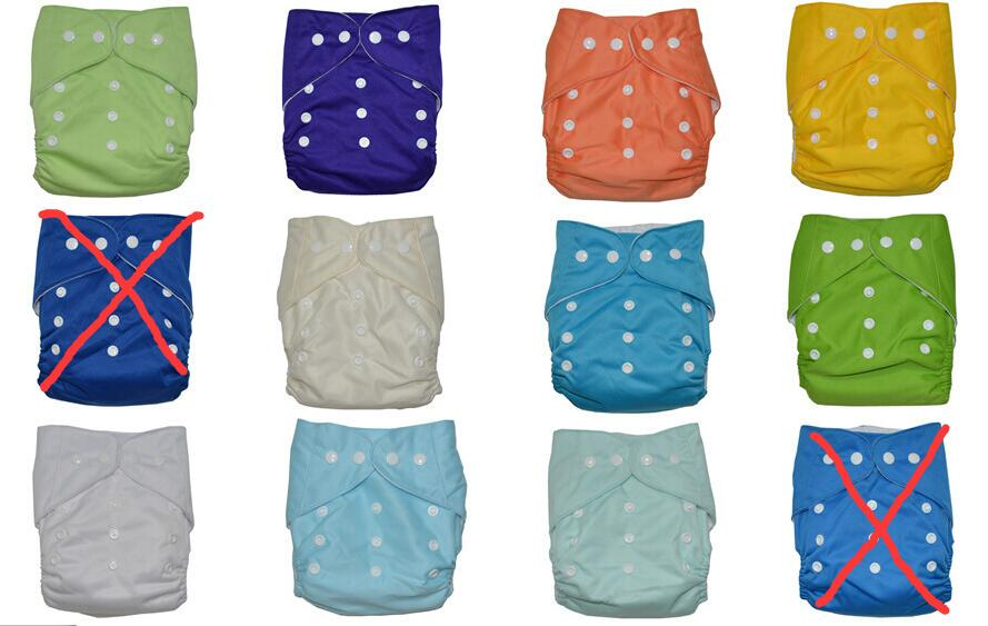 10pcs Pure color washable cloth diapers fralda de pano reusable nappies baby diaper cover diaper with 10pcs diaper insert