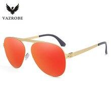 Vazrobe No Screw Nylon Lenses Aviation Sunglasses for Men Women German Design Sun Glasses for Driving Anti Glare Stainless Steel