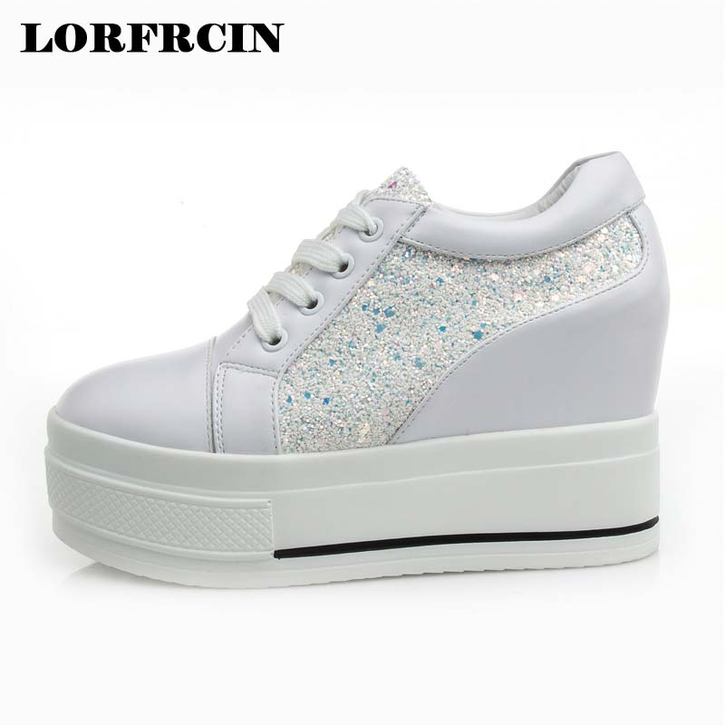 цены LORFRCIN Women Shoes 10cm Platform Wedges Shoe Hidden Heel Pumps Black White Casual Shoes Woman Autumn High Heels 2018