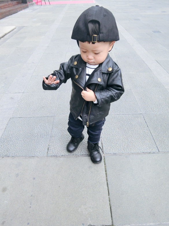 Wind PU Leather Leather Coat Baby Boys and Girls Short Children Jacket 25