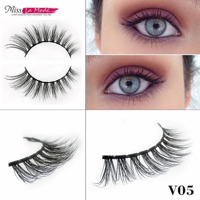 Miss Lamode V05 Fake Synthetic Strip Eyelashes Thick 3d Mink