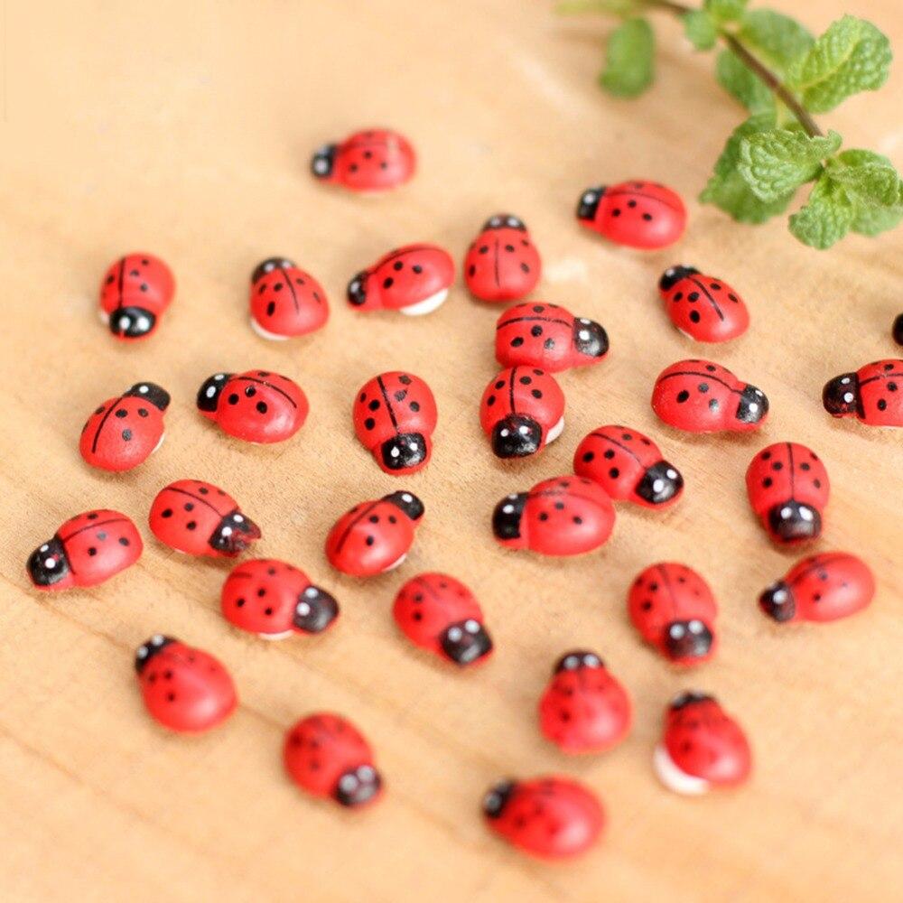 10Pcs Mini Ladybird Red Beetle Ladybug Fairy Doll House Garden Decor Ornament