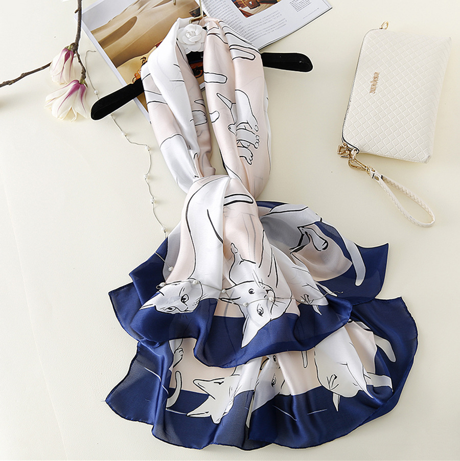 Elegant Silk Cat Design Scarf