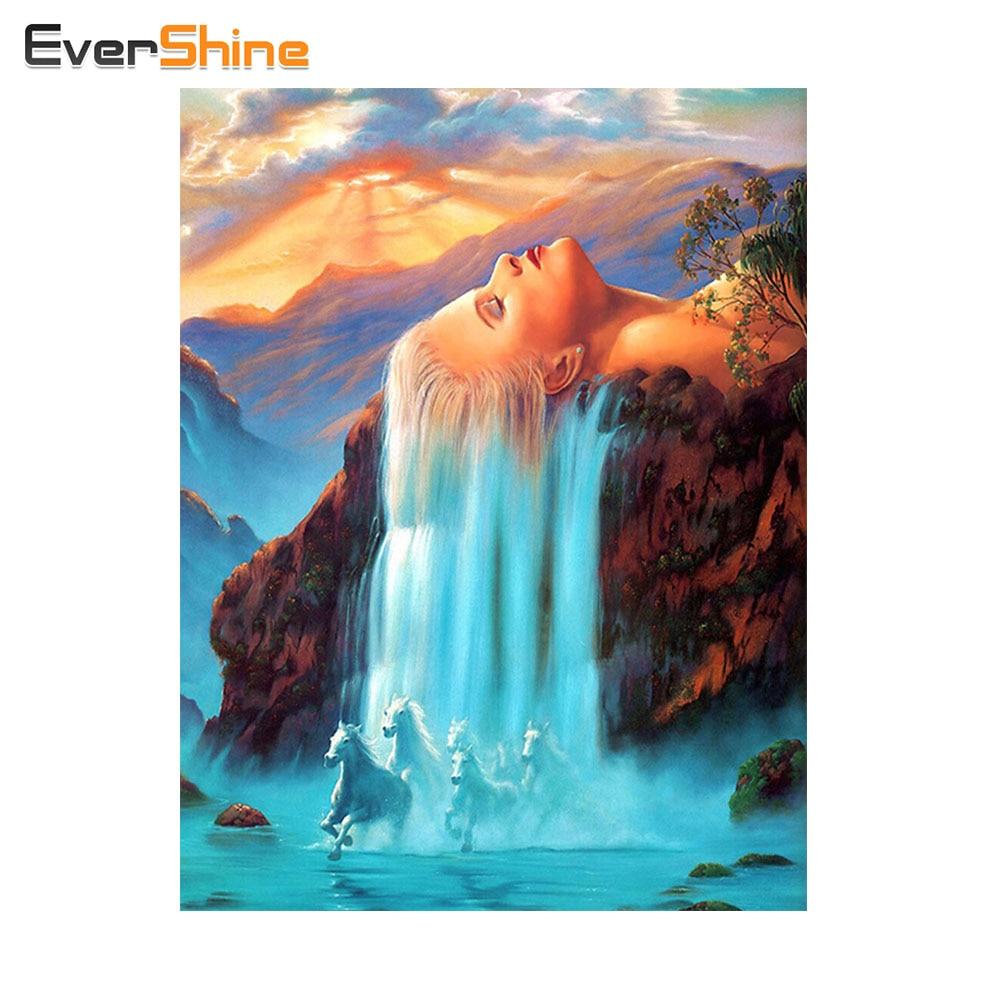 EverShine Diamond Embroidery Beauty Women Hair Picture Of Rhinestones Diamond Painting Cross Stitch Mosaic Mosaic Home Decor