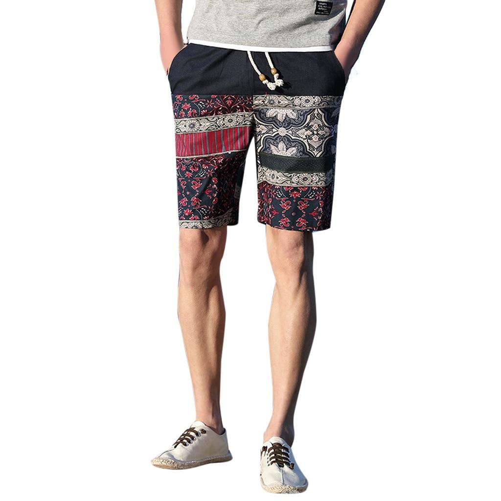 Men Shorts New Summer Casual Ethnic Style Printed Loose Cotton Mid Waist Linen Hemp Beach Shorts Men Elastic Waist Shorts  C0429